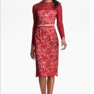 Maggy London Red Lace Midi Dress Size 4